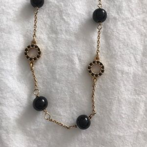 j.crew long gold and black necklace